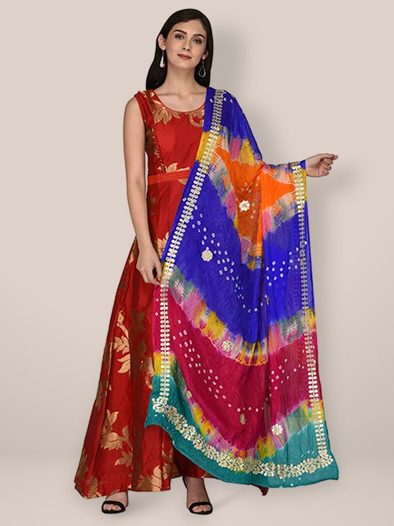 Multicoloured  Bandhej Silk Dupatta