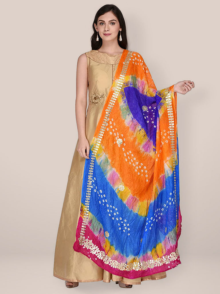 Multicoloured  Bandhani Silk dupatta