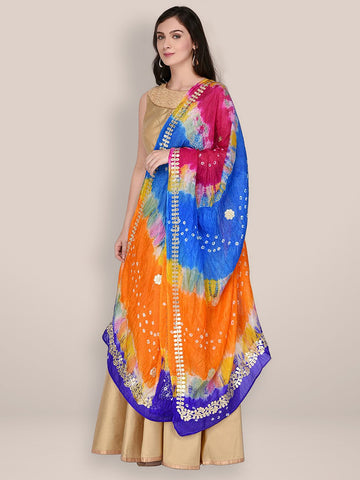 Multicoloured Bandhini Silk dupatta with Gotta Patti Work
