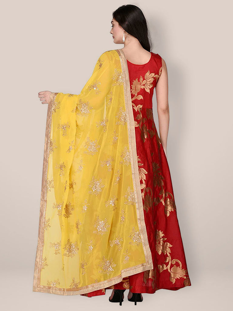 Yellow Georgette Dupatta with Gold Embroidery