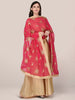 Red Georgette Dupatta with Gold Embroidery