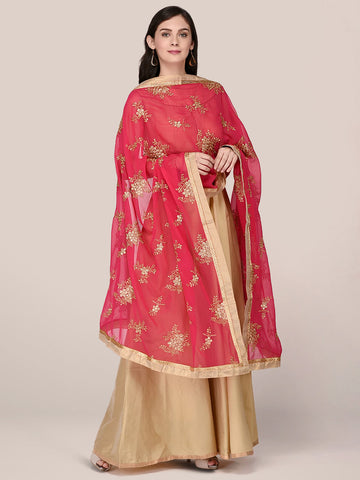 Dupatta Bazaar Woman's Georgette Dupatta with Gold Embroidery - Dupatta Bazaar