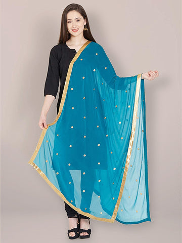 Dupatta Bazaar Women's Peacock Blue Chiffon Dupatta with Gold Embroidery. - Dupatta Bazaar