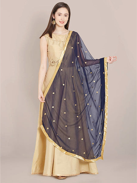 Dupatta Bazaar Women's Navy Blue Chiffon Dupatta with Gold Embroidery. - Dupatta Bazaar