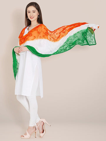 Tri Colour/Tiranga Chiffon Dupatta with Embroidery