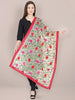Beige Dupatta with Multicolour Embroidery.