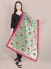 Green Dupatta with Multicolour Embroidery.