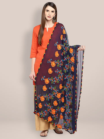 Navy Blue & Multicoloured Embroidered Chiffon Dupatta