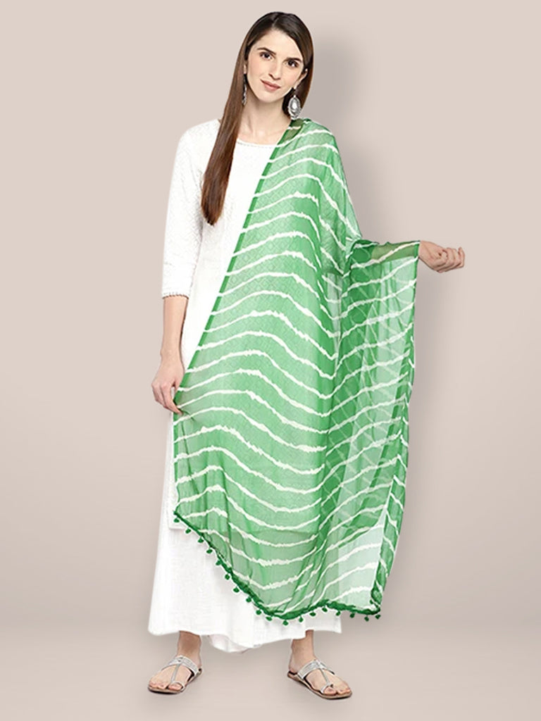 Green & White Leheria Chiffon Dupatta