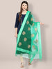 Sea Green Organza Dupatta with Gold Embroidery.