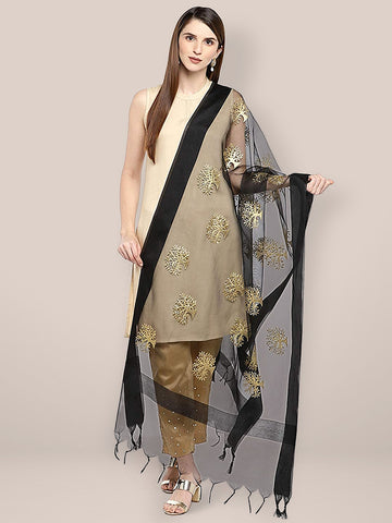 Dupatta Bazaar Woman's Black Organza Dupatta with Gold Embroidery. - Dupatta Bazaar