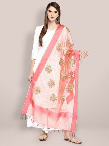 Dupatta Bazaar Woman's Peach Organza Dupatta with Gold Embroidery. - Dupatta Bazaar