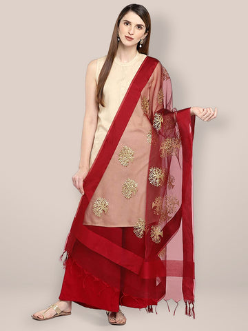 Maroon Organza Dupatta with Gold Embroidery.