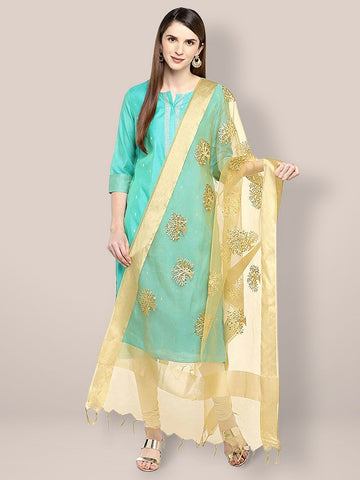 Beige Organza Dupatta with Gold Embroidery.