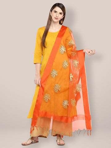Dupatta Bazaar Woman's Orange Organza Dupatta with Gold Embroidery. - Dupatta Bazaar