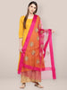 Pink Organza Dupatta with Gold Embroidery.