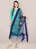 Navy Blue Organza Dupatta with Gold Embroidery.
