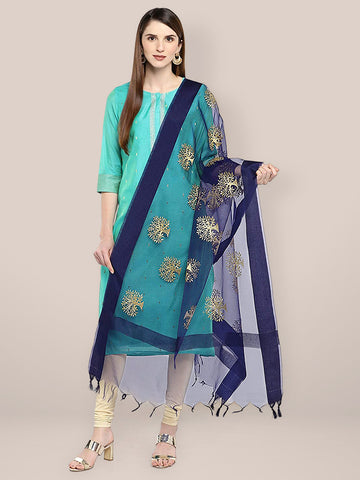 Dupatta Bazaar Woman's Navy Blue Organza Dupatta with Gold Embroidery. - Dupatta Bazaar