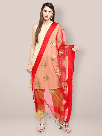 Dupatta Bazaar Woman's Red Organza Dupatta with Gold Embroidery. - Dupatta Bazaar