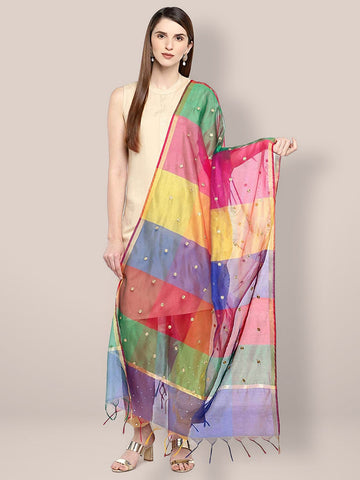 Dupatta Bazaar Women's Multicoloured dupatta with Embroidery - Dupatta Bazaar