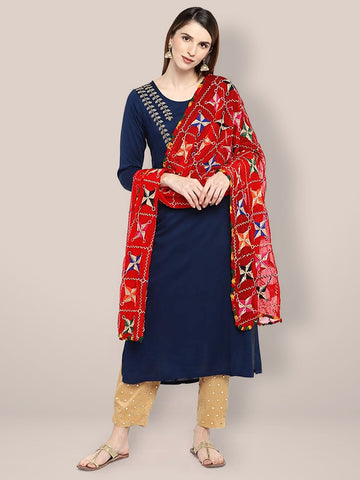 Embroidered Red & Multicoloured Chiffon Dupatta with Phulkari Work