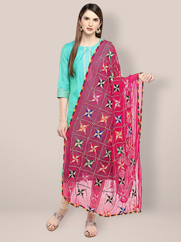 Dupatta Bazaar Women's Embroidered Pink & Multicoloured Chiffon Dupatta.