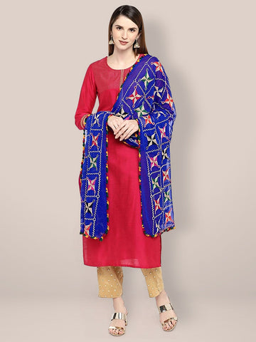 Dupatta Bazaar Women's Embroidered Blue & Multicoloured Chiffon Dupatta.