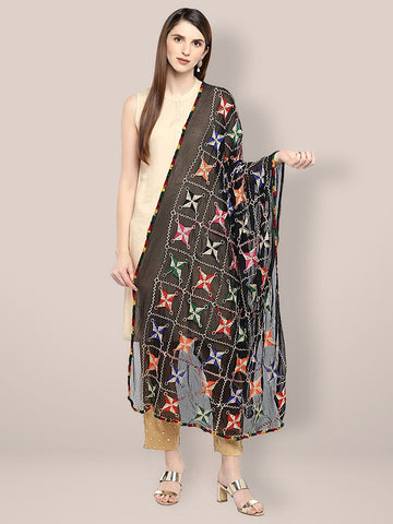 Dupatta Bazaar Women's Embroidered Black & Multicoloured Chiffon Dupatta. - Dupatta Bazaar