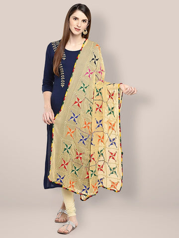 Beige Phulkari Chiffon Dupatta. with Multicoloured Embroidery