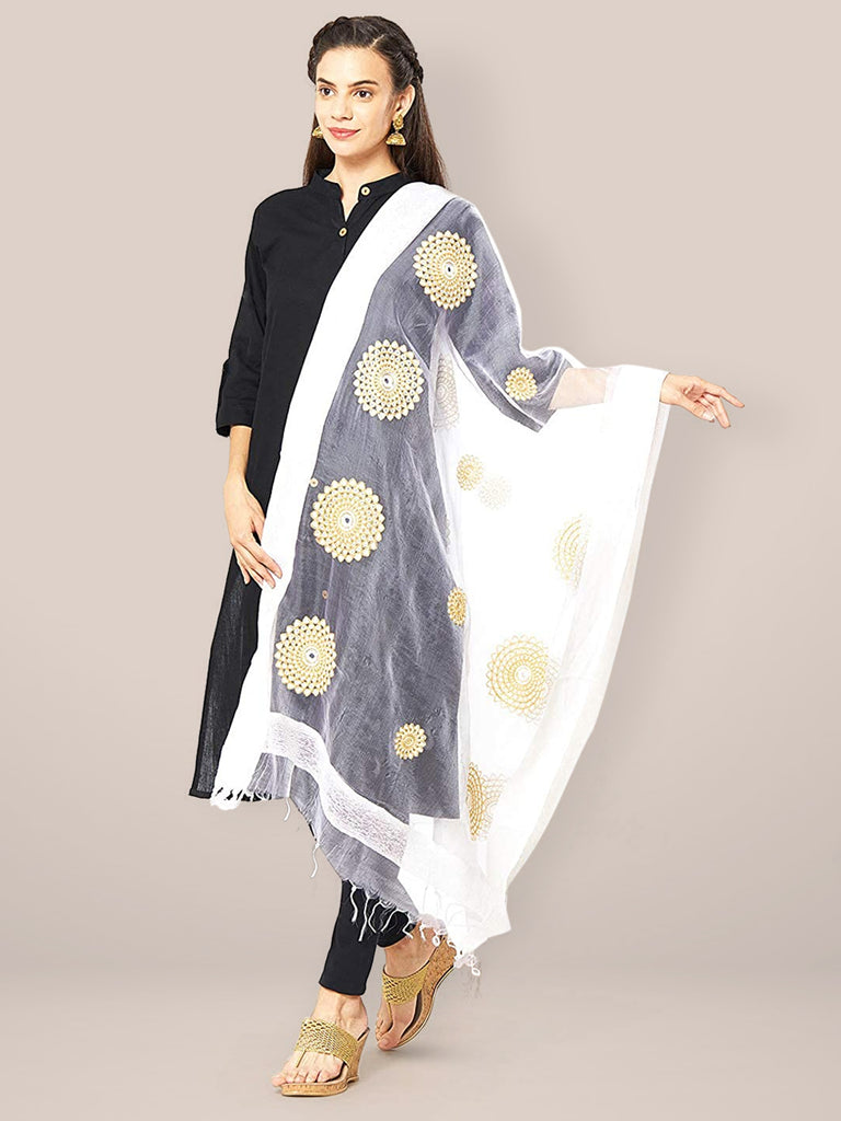 White Organza Dupatta with Embroidery.