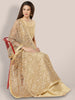 Grey & Gold Embroidered Net Dupatta