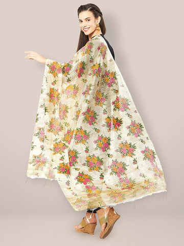 Multicoloured Floral Printed Cotton Silk Dupatta.