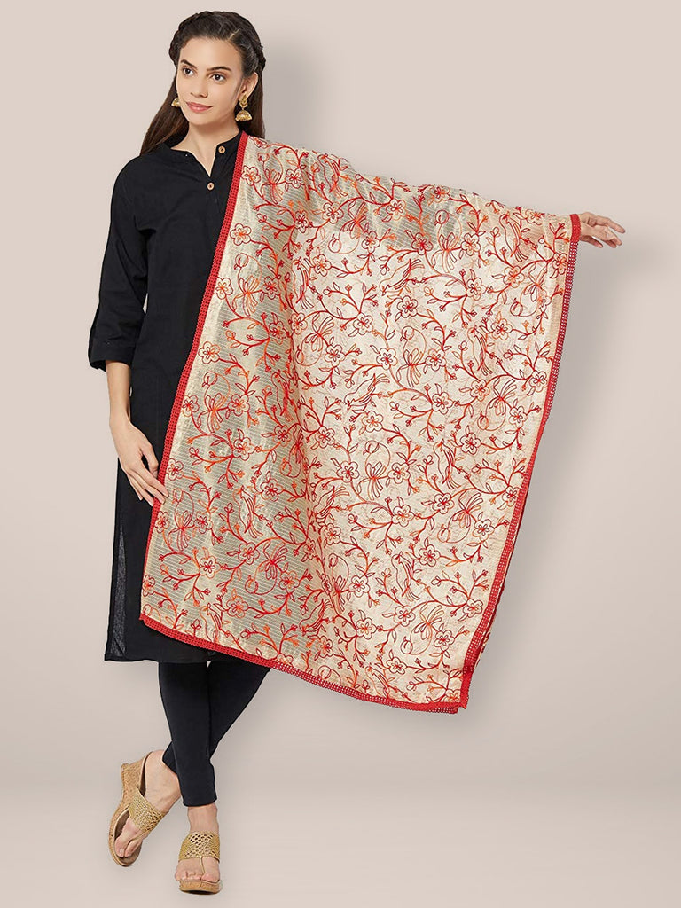 Red & Gold Embroidered Cotton Silk Dupatta