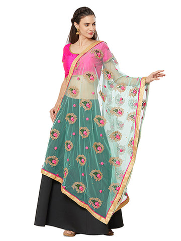 Dupatta Bazaar Woman's Sea Green Net Dupatta with Paisley Embroidery. - Dupatta Bazaar