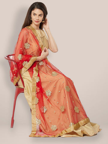 Red Net Dupatta with Gold Motifs.