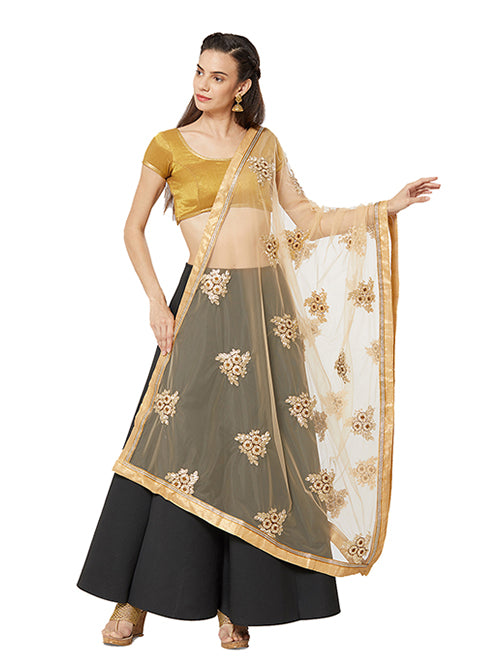 Dupatta Bazaar Woman's Net Dupatta with Copper and Gold floral Embroidery - Dupatta Bazaar