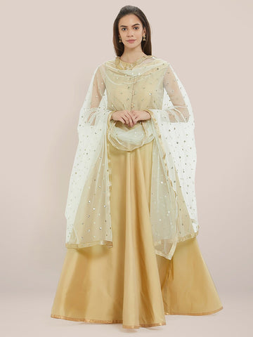Embellished White Net Dupatta