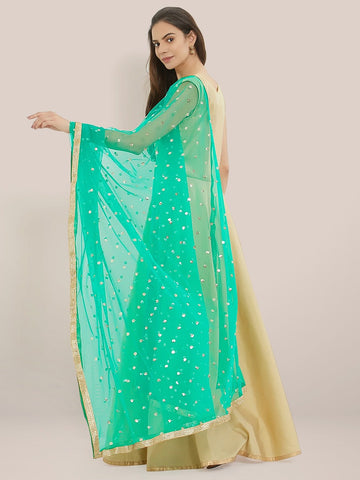 Embellished Green & Gold Net Dupatta