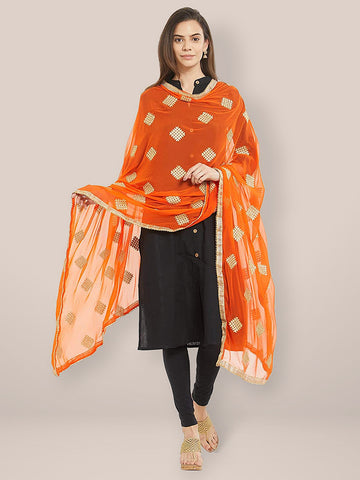 Dupatta Bazaar Woman's Orange Embroidered Chiffon Dupatta - Dupatta Bazaar