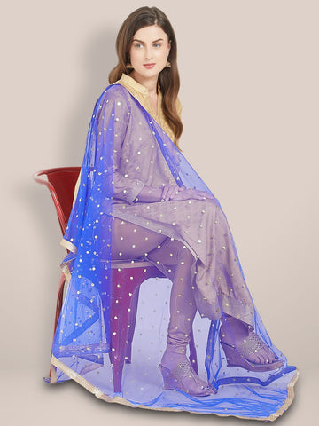 Royal Blue Embellished Net Dupatta