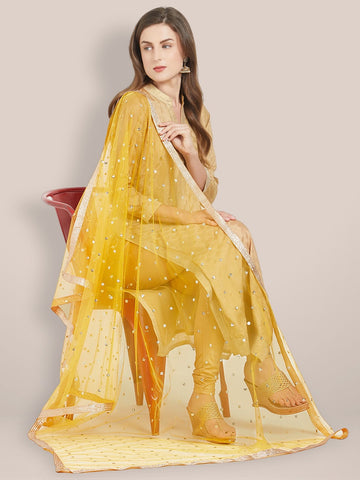 Embellished Yellow Net Dupatta