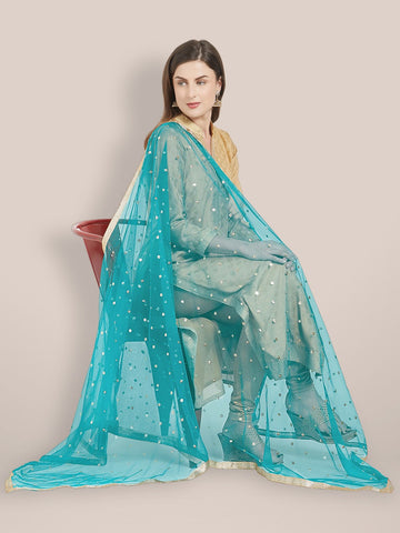 Embellished Net Teal Blue Dupatta