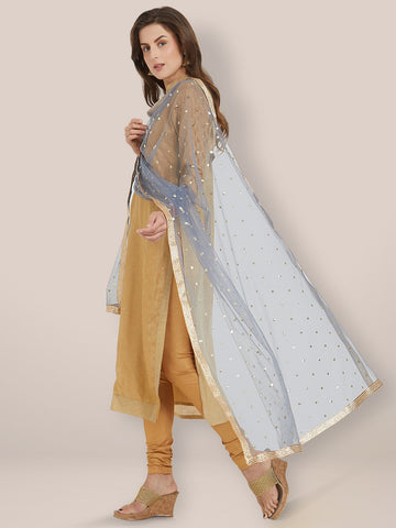 Embellished Grey Net Dupatta