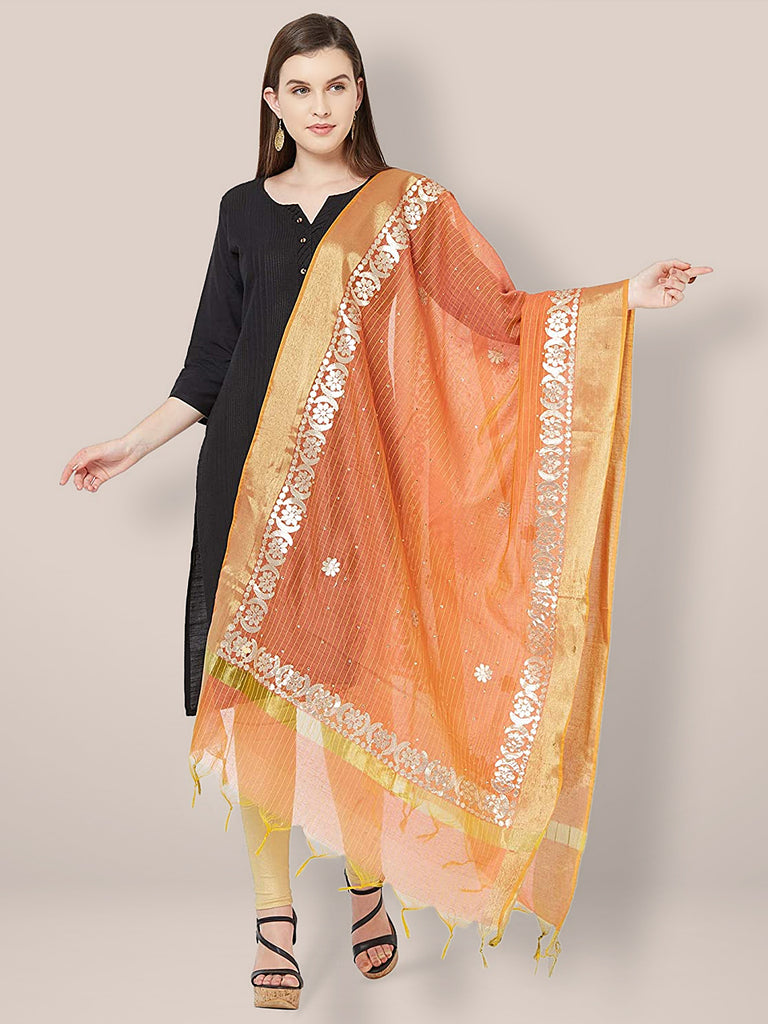 Orange Chanderi Dupatta with Gotta Work