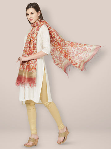 Dupatta Bazaar Woman's Chanderi Silk Dupatta with block print.