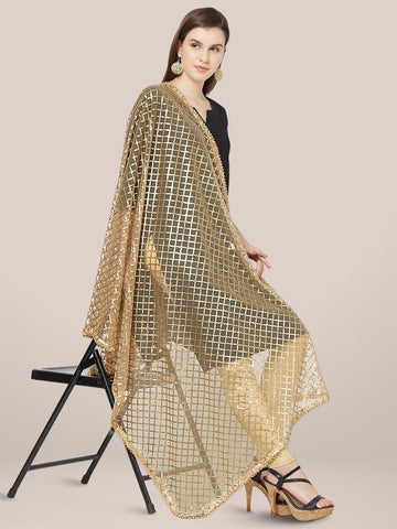 Embellished Gold Net Dupatta.