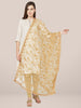 Golden Floral Embroidered Net Dupatta.