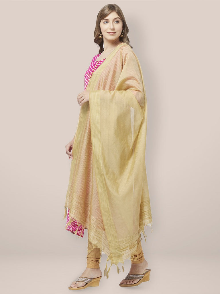 Gold Cotton Silk Dupatta with Golden Woven Border.