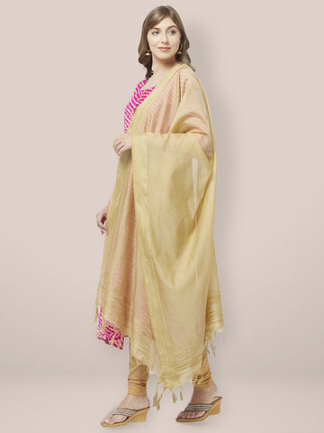 Dupatta Bazaar Woman's Gold Cotton Silk Dupatta with Golden Woven Border. - Dupatta Bazaar