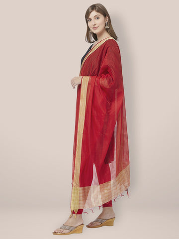 Red Cotton Silk Dupatta with Golden Woven Border.